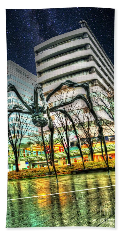 Architecture Beach Towel featuring the photograph Along Came A Spider by Juli Scalzi