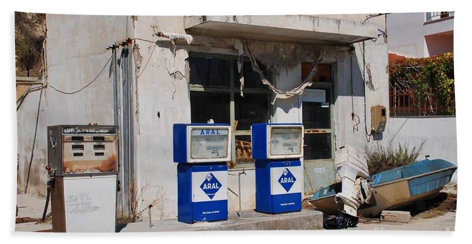 Alonissos Beach Towel featuring the photograph Alonissos Petrol Station by David Fowler