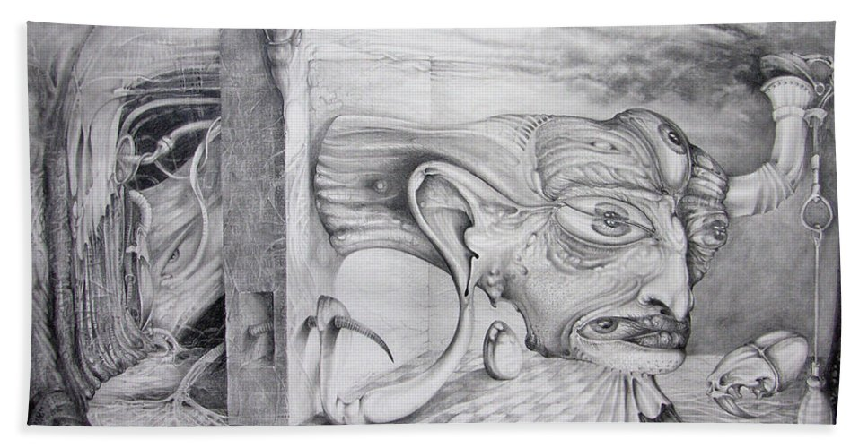otto Rapp Beach Towel featuring the drawing Alpha And Omega - The Reconstruction Of Bogomils Universe by Otto Rapp