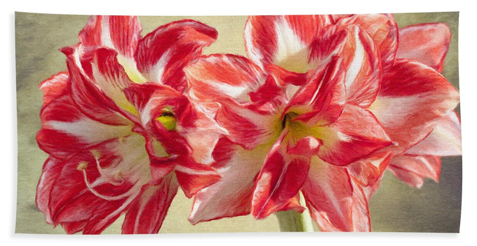 Amaryllis Beach Towel featuring the painting Amaryllis Red by Jeffrey Kolker