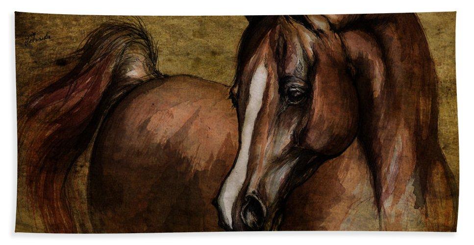 Horse Beach Towel featuring the painting Amber by Angel Ciesniarska
