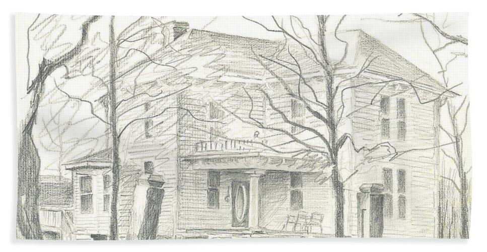 American Home Ii Beach Towel featuring the drawing American Home II by Kip DeVore