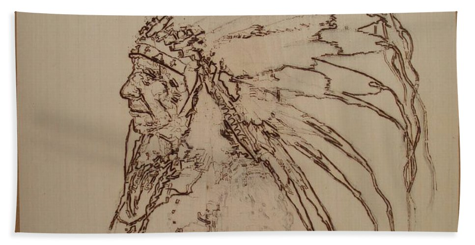 Pyrography Beach Towel featuring the pyrography American Horse - Oglala Sioux Chief - 1880 by Sean Connolly