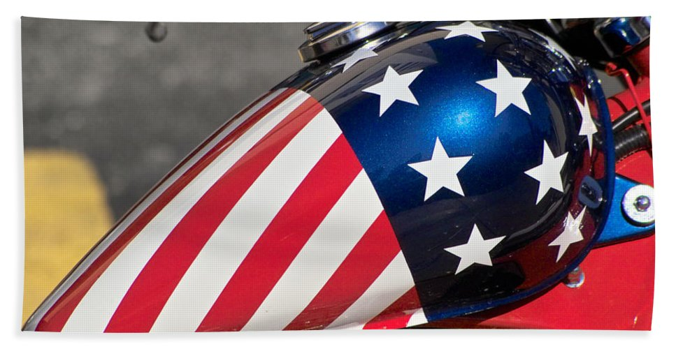 American Beach Towel featuring the photograph American Motorcycle by Gary Dean Mercer Clark
