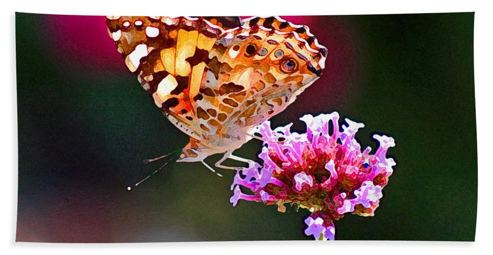 Butterfly Beach Towel featuring the photograph American Painted Lady Butterfly Pink by Karen Adams