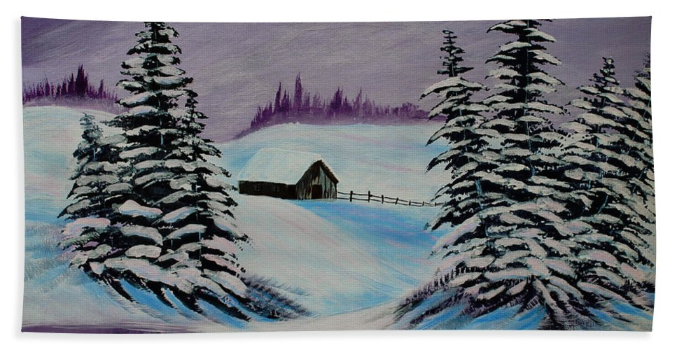 Barbara Griffin Beach Towel featuring the painting Amethyst Evening After Ross by Barbara Griffin