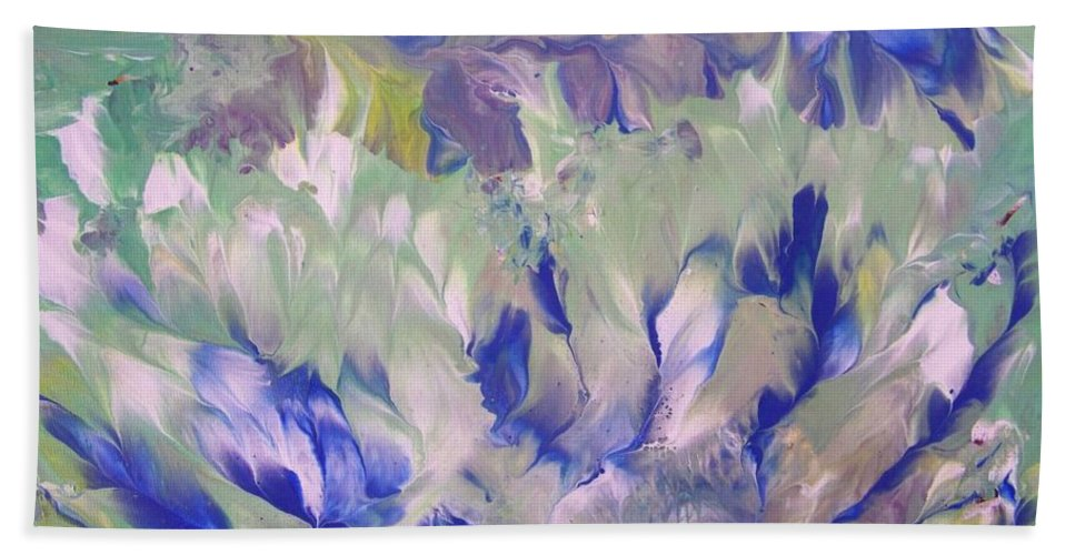 Abstract Beach Towel featuring the painting Amidst The Garden by Jewell McChesney