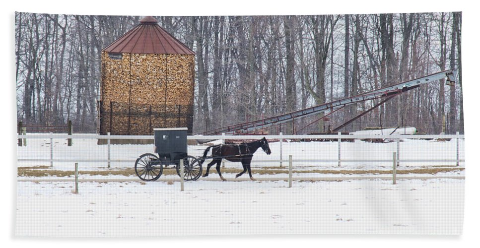 Amish Buggy Beach Towel featuring the photograph Amish Buggy And Corn Crib by David Arment