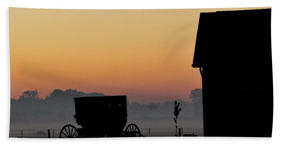 Amish Buggy Beach Towel featuring the photograph Amish Buggy Before Dawn by David Arment