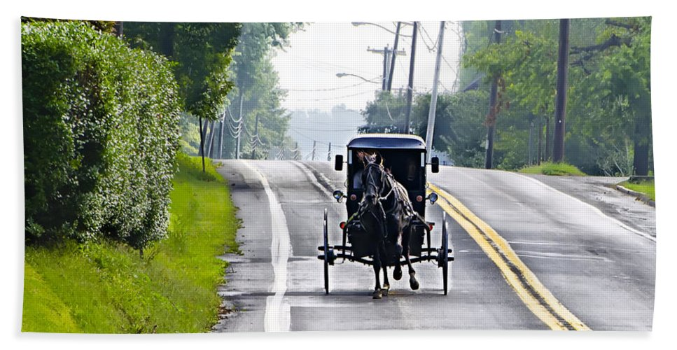 Amish Beach Towel featuring the photograph Amish Buggy In Lancaster County Pa. by Bill Cannon