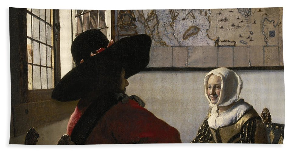 Amorous Beach Towel featuring the painting Amorous Couple by Vermeer