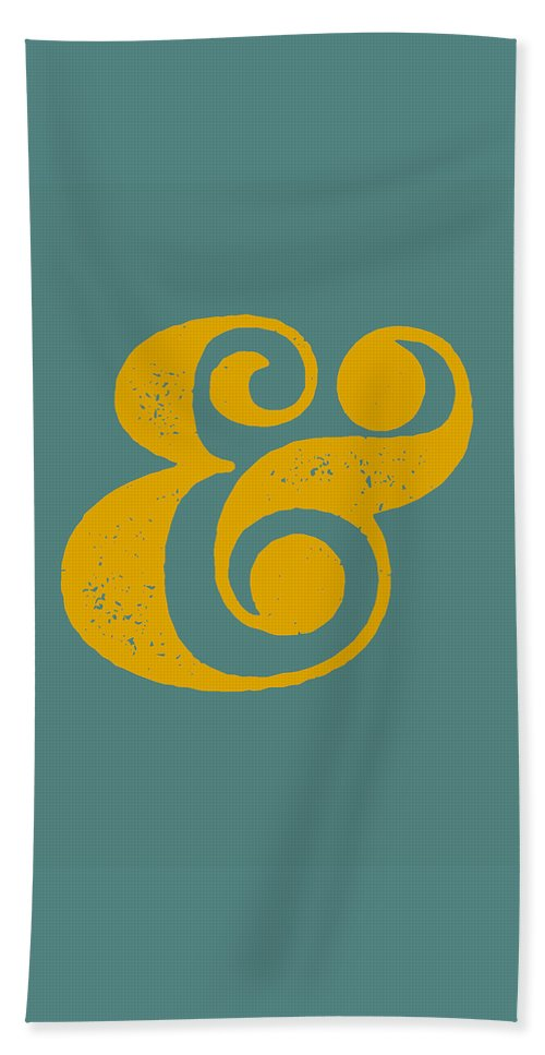 Ampersand Beach Towel featuring the digital art Ampersand Poster Blue And Yellow by Naxart Studio
