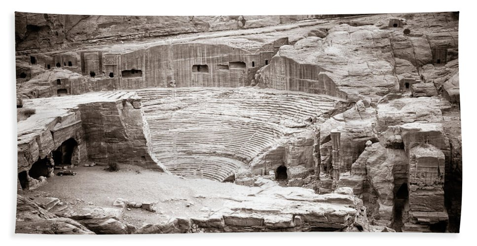 Petra Beach Towel featuring the photograph Amphitheater In Petra by Alexey Stiop