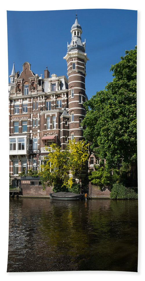 Amsterdam Beach Towel featuring the photograph Amsterdam Canal Mansions - The Dainty Tower by Georgia Mizuleva