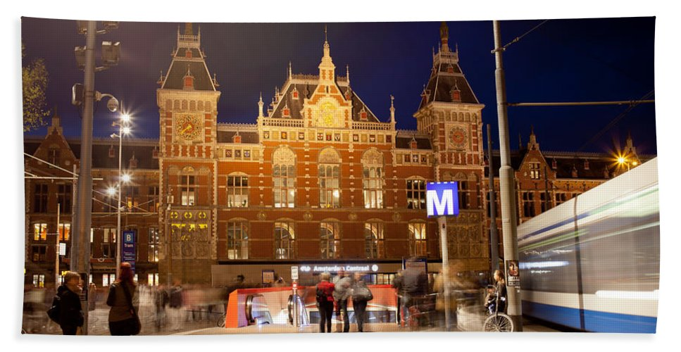 Central Beach Towel featuring the photograph Amsterdam Central Station And Metro Entrance by Artur Bogacki