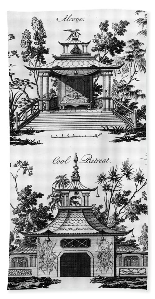 Garden Pavilion; Pagoda; Shelter; Arbour; Folly; Decorative; Chinois; Chinoiserie Beach Towel featuring the drawing An Alcove And A Cool Retreat by Paul Decker