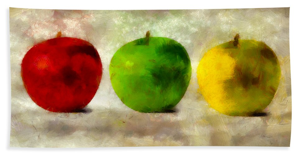 Apple Beach Towel featuring the digital art An Apple A Day by Angelina Vick