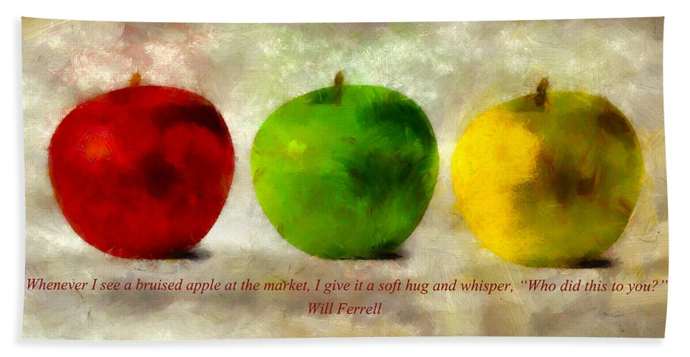 Apple Beach Towel featuring the mixed media An Apple A Day With Will Ferrell by Angelina Vick