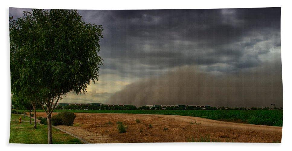 Monsoon2013 Beach Towel featuring the photograph An Arizona Dust Storm by Saija Lehtonen