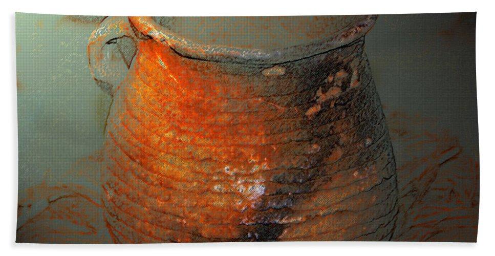 Anasazi Cooking Pot Circa 1200 Ad Beach Towel featuring the painting Anasazi Cooking Pot by David Lee Thompson