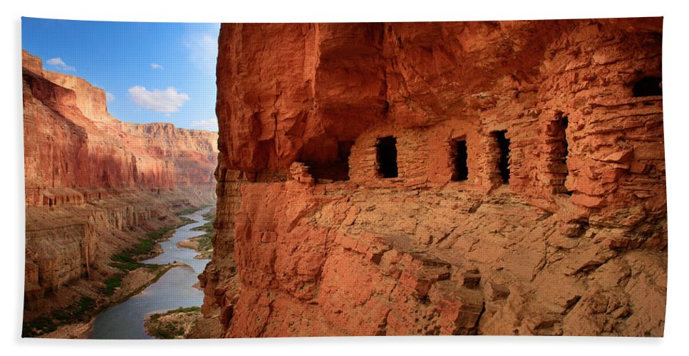 Grand Canyon Beach Towel featuring the photograph Anasazi Granaries by Inge Johnsson