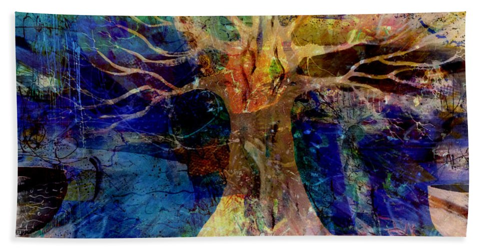 Fania Simon Beach Towel featuring the mixed media Ancestral Place by Fania Simon