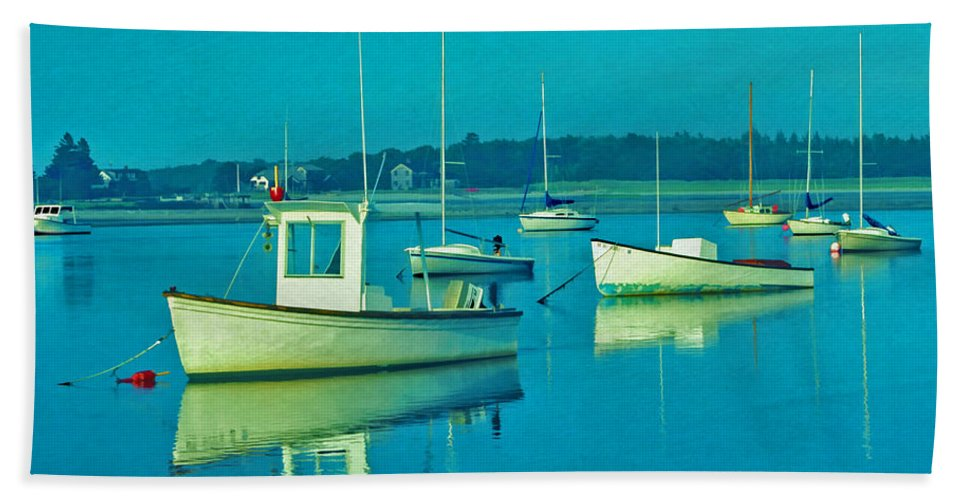 Boat Beach Towel featuring the photograph Anchored In Maine by Gary Slawsky