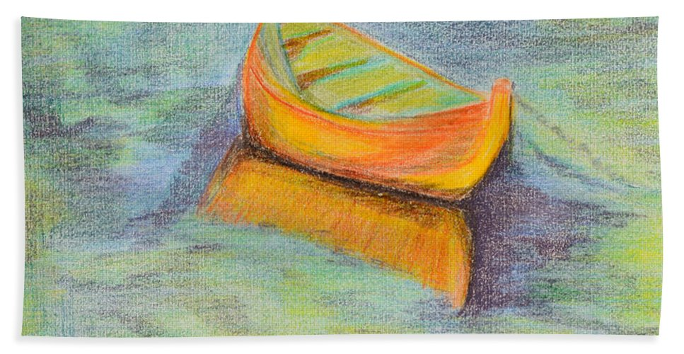 Boat Beach Towel featuring the drawing Anchored In The Shallows by Donna Blackhall