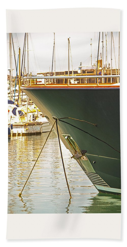 Docked Yacht Beach Towel featuring the photograph Anchored Yacht In Antibes Harbor by Ben and Raisa Gertsberg