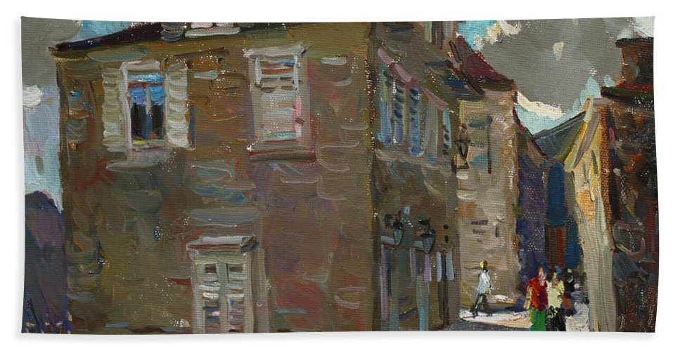 Montenegro Beach Towel featuring the painting Ancient House In Perast by Juliya Zhukova