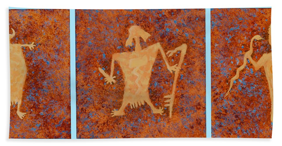 Anasazi Beach Towel featuring the painting Ancient Spirits by Jerry McElroy