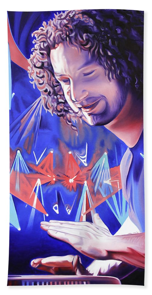 Andy Farag Beach Towel featuring the painting Andy Farag by Joshua Morton