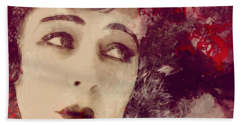 Look Love Lover Flapper Girl Female Woman Face Eyes Lips Beauty Erotic Actress Famous 20s Golden Times Painting Vintage Expressionism Impressionism Angel Kiss Beach Towel featuring the painting Angel Eyes by Steve K
