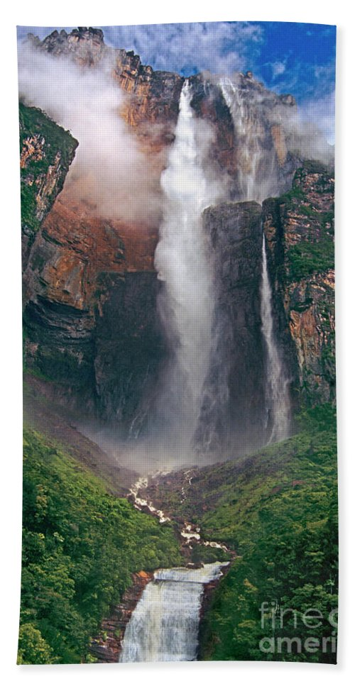 Angel Falls Beach Towel featuring the photograph Angel Falls In Venezuela by Dave Welling
