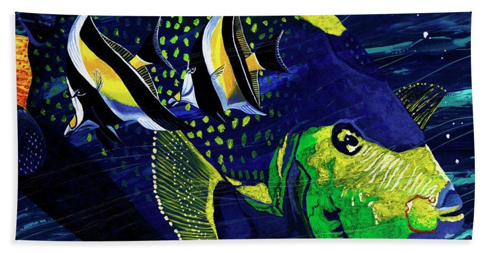 Fish Art Beach Towel featuring the painting Angel Fish by Daniel Paul Hoffman