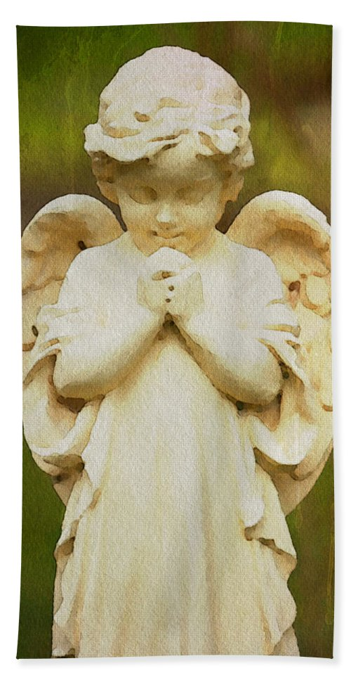 Angel Watercolor Gravesite Alicegipsonphotographs Beach Towel featuring the photograph Angel Of Mine by Alice Gipson