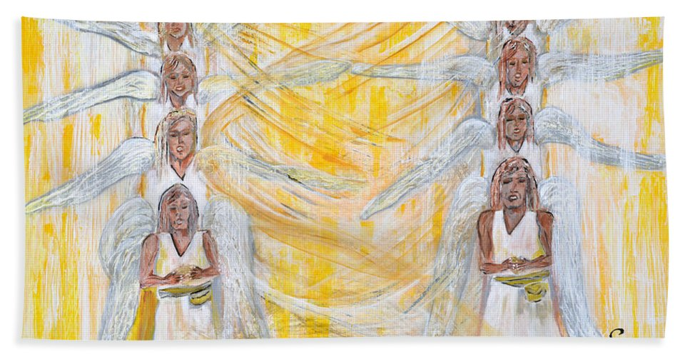 Art By Cassie Sears Beach Towel featuring the painting Angel Winds Flames Of Fire by Cassie Sears