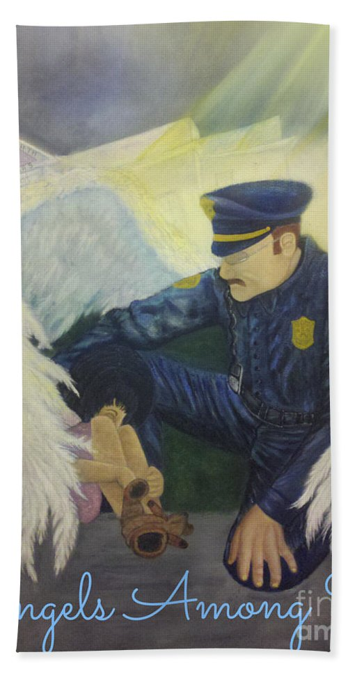 Scene Beach Towel featuring the painting Angels Among Us by Beverly Restelle