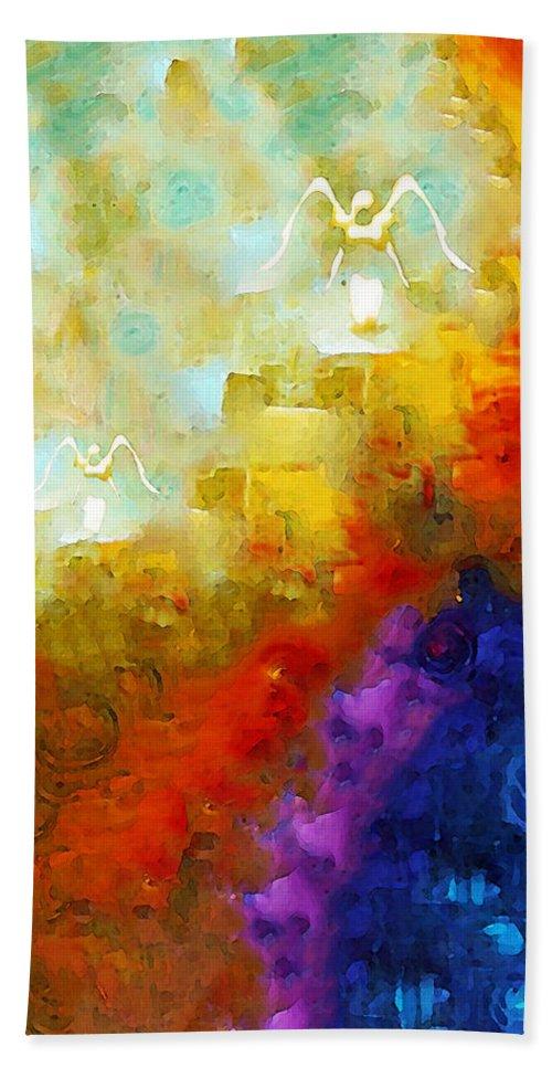 Angel Beach Towel featuring the painting Angels Among Us - Emotive Spiritual Healing Art by Sharon Cummings