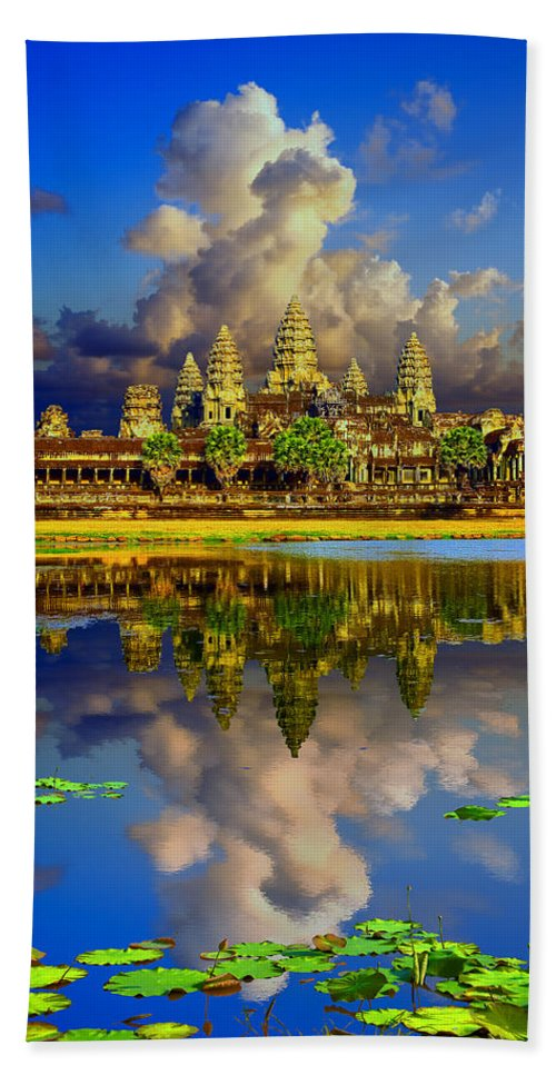 Angkor Wat World Heritage Park Beach Towel featuring the photograph Angkor Wat Just Before Sunset by Leslie Ware