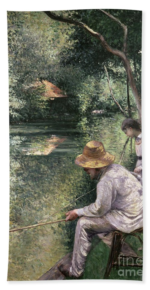 River Bank; Reflection; Line Fishing; Chair; Straw Hat; Foliage; Idle; Edge; Father And Daughter; Dappled Sunlight; Peche A La Ligne; Tranquil; Calm; Leisure; Loisir Beach Towel featuring the painting Angling by Gustave Caillebotte