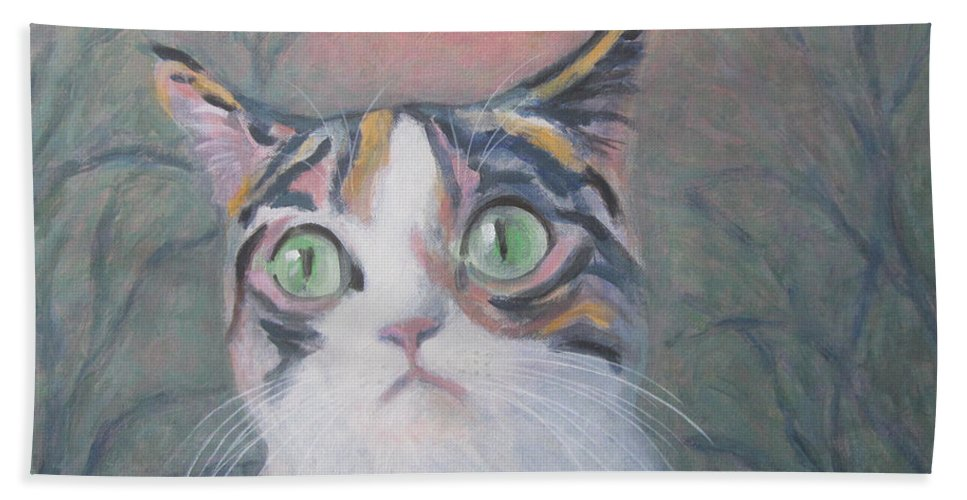 Anguish Of A Cat Beach Towel featuring the painting Anguish Of A Cat by Kazumi Whitemoon