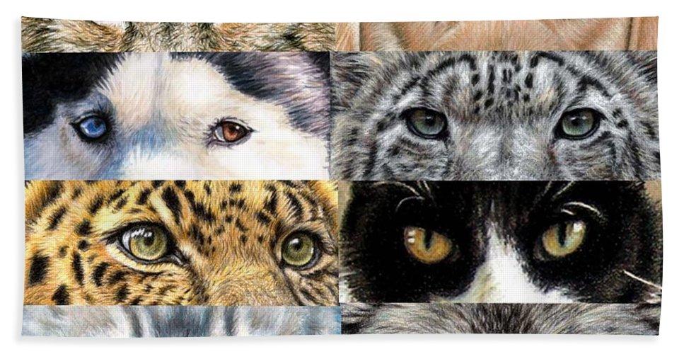 Animal Beach Towel featuring the drawing Animal Eyes by Nicole Zeug