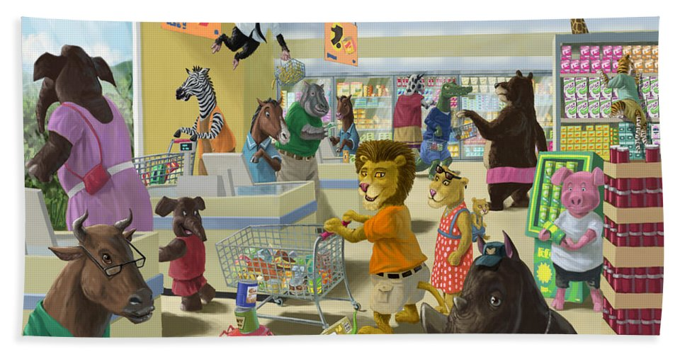 Supermarket Beach Towel featuring the painting Animal Supermarket by Martin Davey
