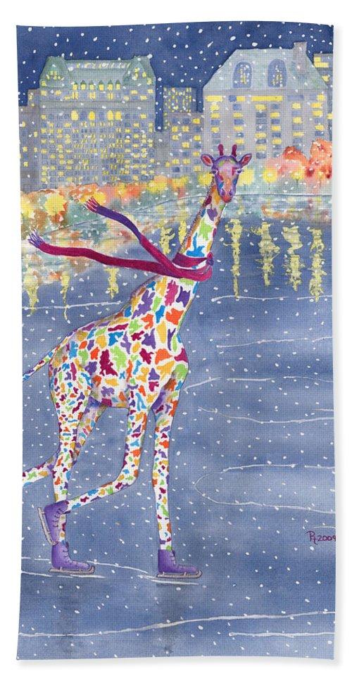 Giraffe Beach Towel featuring the painting Annabelle On Ice by Rhonda Leonard