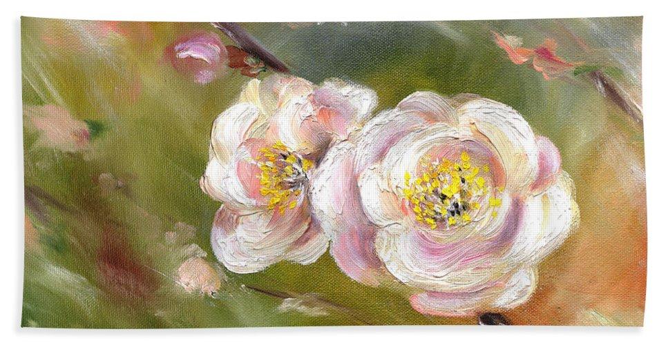 Flower Beach Towel featuring the painting Anniversary by Hiroko Sakai