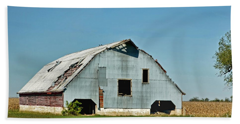 Arcitecture Beach Towel featuring the photograph Another Barn To Repair by Debbie Portwood