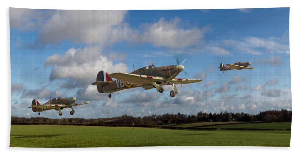 Hawker Hurricane Beach Towel featuring the photograph Another Day - Hurricanes Scramble by Gary Eason
