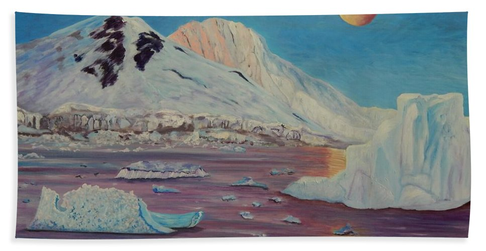 Landscape Beach Towel featuring the painting Antarctica by Caroline Street