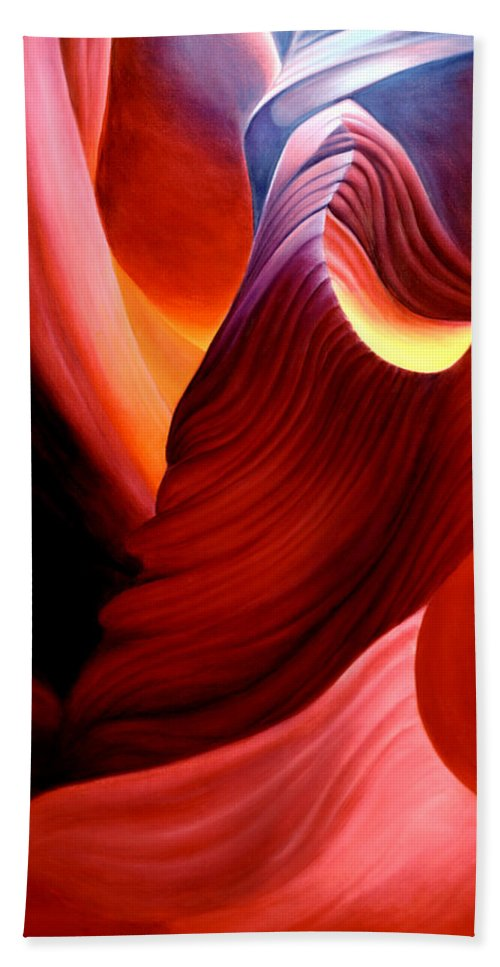 Antelope Canyon Beach Sheet featuring the painting Antelope Magic by Anni Adkins